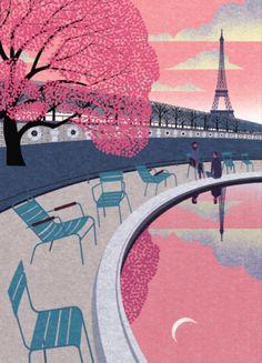 Ryo Takemasa illustre à merveille la Ville Lumière au printemps. Très joli! Venez nous visiter au Crackpot Café pour réaliser votre prochain projet de peinture sur céramique!