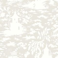 "York Wallcoverings Silhouettes Asian 27' x 27"" Toile 3D Embossed Wallpaper Color: Oyster Shell Gray/Seagull White"