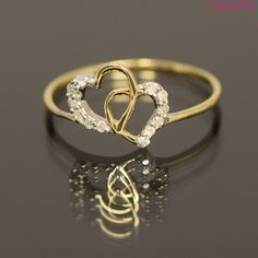 14K Solid Two Tone Yellow White Gold Heart Ring Natural Diamonds Size 6