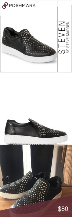"| Steven Steve Madden | studded Smash sneaker | Seriously—if you don't buy these I'm keeping them as they JUST HAPPEN to be my size *wink wink*! Steven by Steve Madden Smash slip on sneaker. Silver tone embellishments, padded collar, hidden elastic goring, interior lining, cushioned insole, platform wedge 1"" sole 1.5"" heel. 7.5. NWOT. Steven By Steve Madden Shoes Sneakers"
