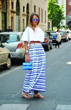 Street style: A feminine take on nautical stripes in London