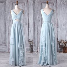 2017 Light Blue Bridesmaid Dress V Neck Wedding Dress Long