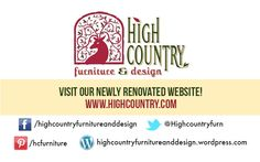 Visit our website and connect with us on social media! Pin this on one of your boards so that your friends find out about High Country Furniture & Design!
