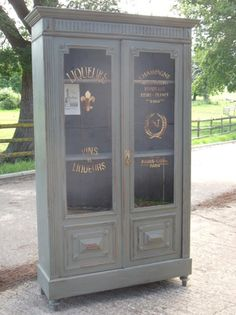 wouldn't fit - Vintage French Painted Part Glazed Wine Larder Pantry Cupboard Gold Graphics | eBay