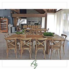 Mesas de jantar Nature 🌿  No projeto da Arq. Elisabete Valduga. Az arte natural - Móveis em madeira, feitos a mão.