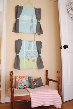 """""""did this will wall stickers and homemade curtains. Almost as nice as a real window."""" cute idea for kids room :)"""