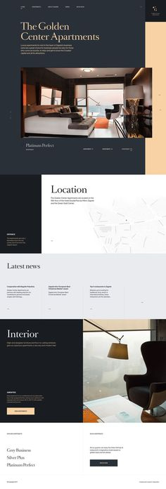 The Golden Center Apartments are luxury apartments for rent in the heart of Zagreb's business zone. Their website is awarded as site of the day. Website Design Layout, Web Layout, Layout Design, Luxury Website, Hotel Website, Luxury Blog, Simple Web Design, Modern Web Design, Template Web