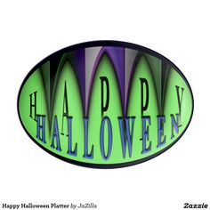 Green Happy Halloween Striped Fangs Platter