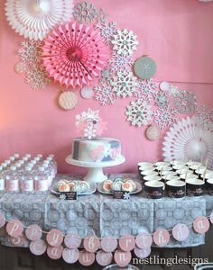 I had so much fun creating this Snowflake party for our daughter! This party is a charming theme that is perfect for any time of the year! ***This party was featured on Karas Party Ideas! December Birthday Parties, First Birthday Winter, Winter Wonderland Birthday, Frozen Birthday Party, 1st Birthday Girls, Birthday Party Themes, Birthday Ideas, Bunny Birthday, Winter Party Themes