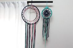Two examples of woven dreamcatchers