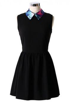 Galaxy Collar Black Skater Dress