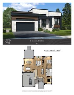 New houses with flat roofs for sale - Construction Louis-Seize - House Plans, Home Plan Designs, Floor Plans and Blueprints Small Modern House Plans, Contemporary House Plans, New House Plans, Modern Bungalow House Plans, Modern Bungalow Exterior, Bungalow House Design, Small House Design, Modern House Design, Louis Seize