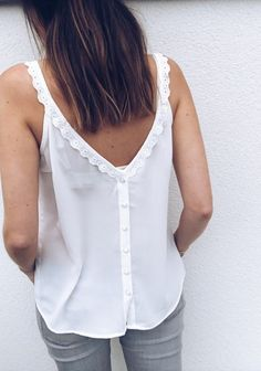 Women Tops Summer Deep V Neck Camis Tank Tops High Quality Clothes Sleeveless Femme Cusual Vest Lace Vest, Lace Collar, White V Necks, Cami Tops, Women's Tops, Ladies Dress Design, Latest Fashion For Women, Ladies Fashion, Womens Fashion