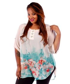 Cream Chiffon Floral Tunic 1x, 2x, 3x. $38.00. Blondellamy'Dean is a boutique just for Curvy Girls. Sizes 10- 28. Specialty sizes up to a size 36. Use coupon code: pin10 for 10% off your first purchase on www.blondellamydean.com or like