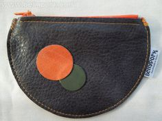 Coin purse leather. Mini size. Grey & orange. by BellyPork on Etsy, €10.00