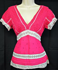 American Eagle AEO Women's Top Pink Patterned With Tie Back sz 10  #AmericanEagleOutfitters #Blouse #any