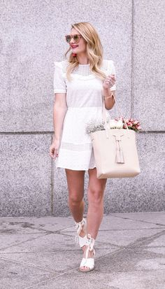 White Rebecca Minkoff Dress and Soludos Sandals | Spring Outfit Ideas | Style Inspiration | Wedding Guest Look | Visions of Vogue | What to Wear For Spring | Warm Weather Fashion | Bride To Be | White Dresses