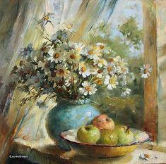 Flower Painting Canvas, Oil Painting Flowers, Watercolor Flowers, Watercolor Paintings, Bull Painting, Lake Art, Impressionist Art, Nature Paintings, Artist Art