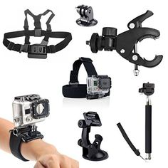 GoPro Accessories Kit 7 in 1  Peyou Sport Camera Accessory Combo Kit for GoPro HD Hero 1 2 3 3 4 Elastic Adjustable Head Strap Mount  Chest Mount Harness  Wrist Strap Mount  GoPro Suction Cup Car Bracket  Extendable Selfportrait Monopod  Replacement GoPro Tripod Mount  Bicycle Handlebar Bracket For GoPro HD Camera >>> You can get more details by clicking on the image. This is Amazon affiliate link.