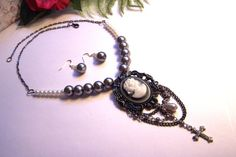 Cameo pendant necklace and earring set by HeavenlyTreasuresLG