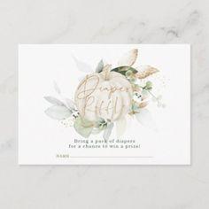 Soft Fall Pumpkin Botanical Leaves Diaper Raffle Enclosure Card Zazzle Invitations, Baby Shower Invitations, Couples Baby Showers, Pack Of Diapers, Diaper Raffle, Little Pumpkin, Fall Pumpkins, Invitation Design, Holiday Cards