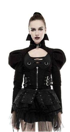 Punk-Rave-Jacket-Steampunk-Top-Gothic-Puffs-Victorian-LARP-Vintage-Bolero-Y660