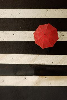 contrasting red umbrella with the crosswalk