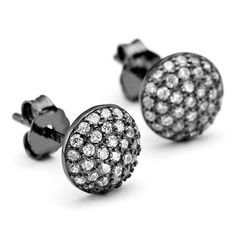 Constellations collection pave crystal round domed stud earrings in black rhodium plate over sterling silver core metal. Classic design from OneByOne London. Silver Earrings, Stud Earrings, Black Rhodium, Constellations, Silver Plate, Studs, Rose Gold, Crystals, Sterling Silver