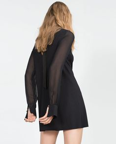 Image 3 of SHEER SLEEVE DRESS WITH TIE-UP NECKLINE from Zara