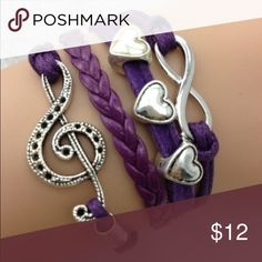 purple silver Charm leather Bracelet Brand new leather bracelet Jewelry Bracelets