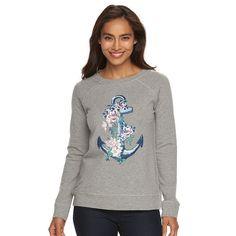 Women's Caribbean Joe Flower Anchor Raglan Sleeves Shirt, Size: XL, Light Pink