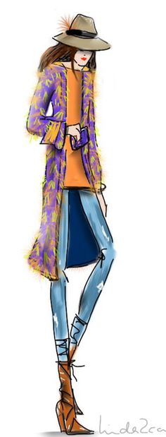 A lazy Sunday asks for a hip & happening hippie style. Fashion sketch by Linda Zoon.