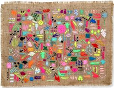 Elizabeth Pawle - Scatterings Six embroidered wall hanging - Inky Collective… Art Textile, Textile Artists, Textiles, Embroidery Stitches, Hand Embroidery, Objet Deco Design, Burlap Art, Fabric Art, Fiber Art
