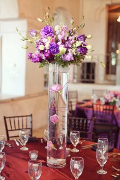 Purple Centerpiece Photography by foreverphotographystudio.com