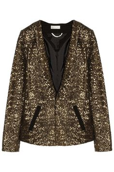 Buy Day Birger et Mikkelsen Women's Metallic Sequined Crepe Blazer. SALE now on! Gold Sequin Jacket, Sequin Blazer, Blazers, Brown Blazer, Glamour, Discount Designer Clothes, Clothes For Sale, Fashion News, Fashion Fall