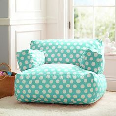 Chair for Izzy's room.  Print or solid? Pool Painted Dot Eco Lounger #potterybarnteen