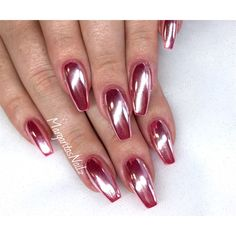 Rose Chrome Coffin Nails - Nail Art Gallery