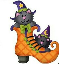 HALLOWEEN WITCH BOOT AND KITTYS CLIP ART
