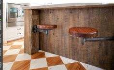 Cool swing out stools and salvaged timber bench