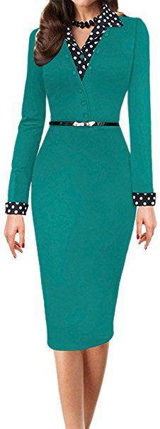 LUNAJANY Women's Black Polka Dot Long Sleeve Wear to Work Office Pencil Dress at Amazon Women's Clothing store: