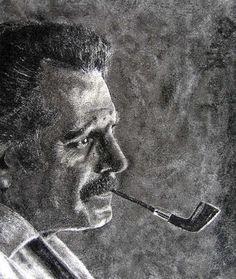 Portrait de Georges Brassens – 45×35 cms – Tableau de sable sur papier – 2004 - sand painting – http://www.david-cadran.com