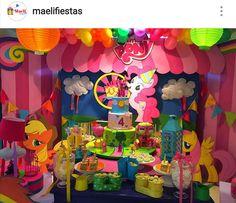 My Little Pony Birthday Party Dessert Table and Decor Birthday Party Desserts, 3rd Birthday Parties, Birthday Decorations, My Little Pony Birthday Party, My Lil Pony, Dessert Table, Diana, Unicorn, Barbie