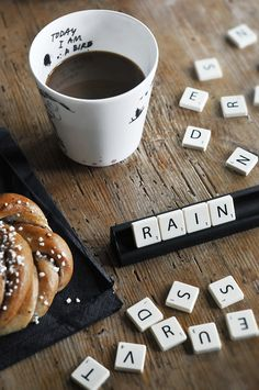 Drinking coffee, nibbling on a croissant & playing scrabble on a rainy day.Drinking coffee, nibbling on a croissant & playing scrabble on a rainy day. I Love Coffee, Coffee Break, My Coffee, Morning Coffee, Coffee Shop, Coffee Cups, Rain And Coffee, Happy Coffee, Coffee Tumbler