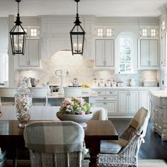 White, classic kitchen. no lights or chair covers