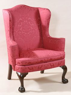 CHIPPENDALE WING CHAIR WITH BALL AND CLAW FEET I Love Chippendale, And I  Love Pink