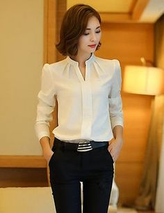 Winter Women Shirts 2016 New Fashion V-neck Collar White Long Sleeve Shirt Thicken Ladies Formal Blouses And Tops Supernatural Style Formal Blouses, Formal Shirts, Mode Outfits, Office Outfits, The Office Shirts, Mode Hijab, White Shirts, Work Attire, Mode Inspiration