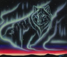 Sky Dance Series of a wolf by Amy Keller-Rempp Art. by acrylic on canvas. Original sold, giclee prints and fine art cards available. Canadian Wildlife, Aboriginal Artists, Art Cards, Spirit Animal, Giclee Print, Northern Lights, Amy, Wolf, Dance