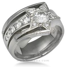 Shooting Star Engagement Ring - This artistic engagement ring was designed to represent the motion and brilliance of a shooting star. It is a spectacular stand alone ring. The ring shown features a 0.50 ct round diamond in the center. The band is 12mm wide at the top and tapers to 6mm wide on the palm side. Ideal cut accent diamonds.