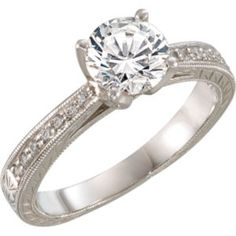 651864 / 14kt White / Engagement Ring / 06.50 mm / Polished / 1/6 CTW Diamond Semi-mount Engagement Ring
