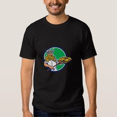 Viking Baker Peel Dough Circle Retro T Shirt. Illustration of a viking warrior raider barbarian baker holding peel with dough bread facing front set inside circle on isolated background done in retro style. #Illustration #VikingBakerPeelDough